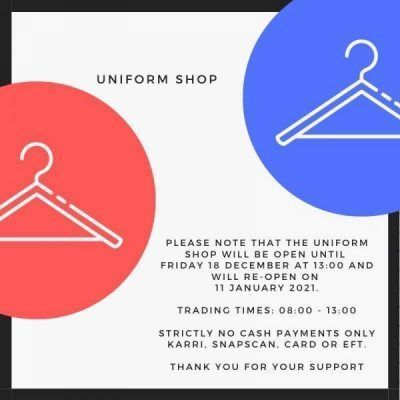Uniform Shop - Closing Times